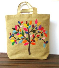 Handmade jute Tote bag, unique, sporty chic, colorful tote bag,appliqued with a colorful tree Jute Tote Bags, Diy Tote Bag, Diy Bags, Jute Crafts, Embroidery Bags, Craft Bags, Patchwork Bags, Fabric Bags, Cloth Bags