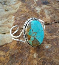 Navajo-style Sterling Silver Cuff with Kingman Turquoise Cabochon