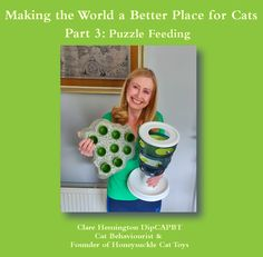 If you would like to understand how your cat can benefit from puzzle feeding, the latest video in my blog series 'Making The World A Better Place for Cats' is for you!   This time I share lots of videos which demonstrate the amazing enrichment that giving your cats their food in puzzle feeders offers.  I hope you find it interesting, if so please share with your cat-owning friends!  #puzzlefeedingforcats #pethealth #honeysucklecattoys Cat Magazine, Pet Health, Latest Video, Cat Toys, Cool Cats, Benefit, About Me Blog, Puzzle, Friends