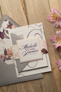 LAUREN Suite Floral Package, beautiful blush watercolor floral wedding invitations that are perfect for your rustic or elegant wedding this spring and summer. Our best selling design gets a new treatment! Letterpress, purple, plum, blush, pink, grey, burgundy.