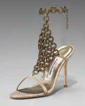 Ellam Chain-Maille Snake Sandal by Manolo Blahnik  Sexy in Bronze
