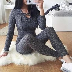 Sexy Long Sleeve Lace Up Skinny Knitted Jumpsuit