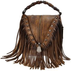 ZLYC Women's Leather Bamboo Hand Strap Featured Fringe Bohemian Tassel... ($110) ❤ liked on Polyvore featuring bags, handbags, shoulder bags, handbags shoulder bags, brown leather purse, crossbody purses, leather fringe purse and fringe purse crossbody