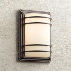Possini euro clemson 13 high bronze led outdoor wall light habitat 11 high bronze and opal glass outdoor wall light aloadofball Images