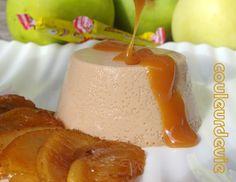 Panna cotta aux Carambars, pommes caramélisées et coulis de caramel au beurre salé Panna Cotta, Caramel Apples, Deserts, Pudding, Cake, Sweet, Food, Agar Agar, Candies