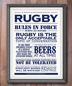 Rugby Print House Rules Typographic Sports Poster Art, via Etsy. Citation Rugby, Rugby Rules, Rugby Poster, Rugby Girls, Womens Rugby, All Blacks, Rugby World Cup, Rugby League, House Rules