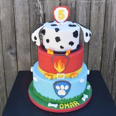 Paw Patrol Cake! Marshall as the top tier! #itsallinthecake #pawpatrol @itsallinthecake. Check out all the other cakes on our Facebook page @It's All in the Cake! www.itsallinthecake.com