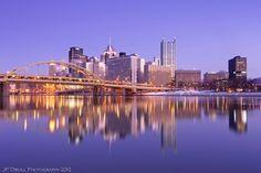 Purple Steel - reflections of the Pittsburgh Skyline.  Photo by JP Diroll