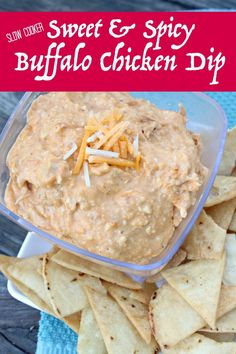 Slow Cooker Game Day Sweet & Spicy Buffalo Chicken Dip- This Mama Loves.  The perfect dip to enjoy while watching the big game this weekend!