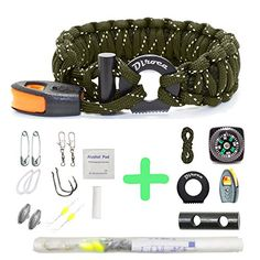 Paracord Bracelet Survival Gear - 550 Premium Green Reflective Parachute - Outdoor Emergency First Aid Tool Kit 19 in 1 Compass, Fire Starter, Emergency Knife, Whistle, Rescue Rope & Food Fishing Gear. For product info go to:  https://all4hiking.com/products/paracord-bracelet-survival-gear-550-premium-green-reflective-parachute-outdoor-emergency-first-aid-tool-kit-19-in-1-compass-fire-starter-emergency-knife-whistle-rescue-rope-food-fishing/
