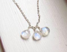 Moonstone necklace June birthstone rainbow by WynnDesign on Etsy, $24.00
