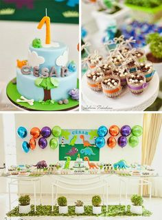 Dinosaur Themed 1st Birthday Party with Lots of Cute Ideas via Kara's Party Ideas | KarasPartyIdeas.com #Dino #DinosaurParty #PartyIdeas #PartySupplies