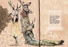 deer, people, portraits, book cover, words