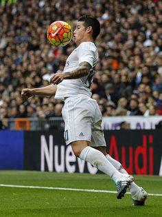 James Rodriguez of Real Madrid in action during the La Liga match between Real Madrid CF and Real Sociedad at Estadio Santiago Bernabeu on December...