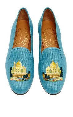 M'o exclusive: taj mahal slipper in teal linen by STUBBS & WOOTTON for Preorder on Moda Operandi