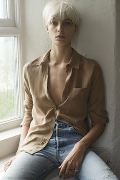 Daria Werbowy multitasks as the model, photographer, and stylist of Equipment's Fall 2014 ad campaign.