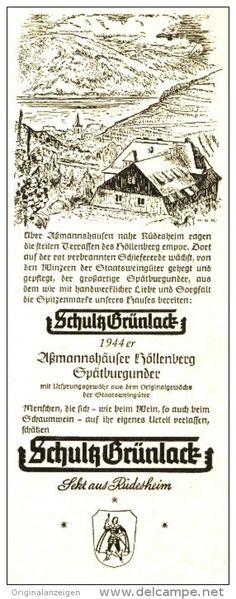 Original-Werbung/ Anzeige 1952 - 1944 er ASSMANNSHÄUSER SPÄTBURGUNDER - SCHULTZ GRÜNLACK / RÜDESHEIM -ca. 70 x 200 mm