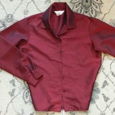 Beautiful red blouse Red blouse by Casual Corner can appear black depending on lighting.  Size 10 Casual Corner Tops Blouses