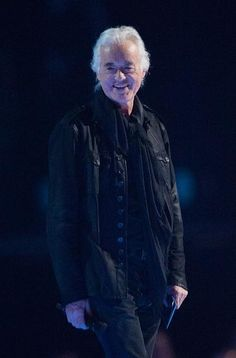 Jimmy Page on stage at the Brit Awards in London Feb. 25, 2015