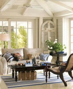 Pottery Barn shares room decorating ideas and room décor ideas to try out on your own home. Browse our room gallery and find the perfect room setup. Cottage Living Rooms, Living Room Decor, Living Spaces, Barn Living, Dining Room, Pottery Barn, Blue Pottery, Salons Cottage, Home Interior