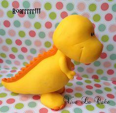 Little  Fondant Dinosaur cake topper by vivalacakeshop on Etsy, $48.00