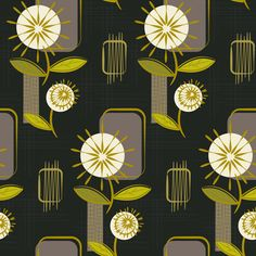 """Mid Century Modern Dandelions ~ (Charcoal) fabric by retrorudolphs on Spoonflower - custom fabric..........AWESOME PRINTS !!!!!!!!!!!!  and you can also """"design your own"""" !!!"""
