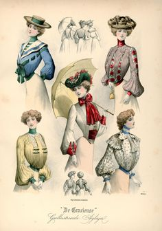 Shirtwaists, 1902 the Netherlands, De Gracieuse. Nice middy collar shirtwaist in the upper left - perfect with the straw boater.