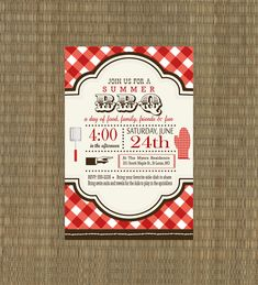Printable BBQ Invitation - Rehearsal Dinner BBQ Invitation - Summer Invitation. $15.00, via Etsy.