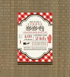 Printable BBQ Invitation - Rehearsal Dinner BBQ Invitation - Summer Invitation. $15.00, via Etsy.