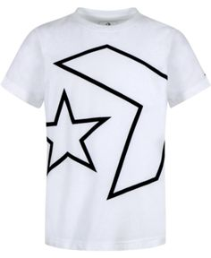 Converse Big Boys Outlined Star Chevron Logo T-Shirt - White S (8/10)