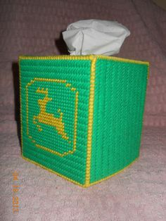 John Deere Tissue Box Cover by SpyderCrafts on Etsy, $10.00