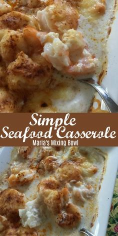 Simple Seafood Casserole - The simplest yet our favorite seafood casserole.-Simple Seafood Casserole – The simplest yet our favorite seafood casserole. The garlic and cream bring this all together in a delicious brothy sauce. Seafood Casserole Recipes, Seafood Recipes, Gourmet Recipes, Cooking Recipes, Shrimp Casserole, Cajun Shrimp Recipes, Baked Shrimp, Seafood Platter, Seafood Appetizers