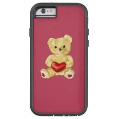 Customizable pink teddy bear iPhone 6 case with a cute teddy bear holding a red heart and hypnotizing you with its unblinking gaze, on soft pink background. This lovely huggable teddy bear iPhone case would be a great gift for kids or someone you love.