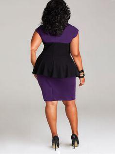 """Cecelia"" Peplum Ponte Dress - Purple/Black - What's New - Monif C"
