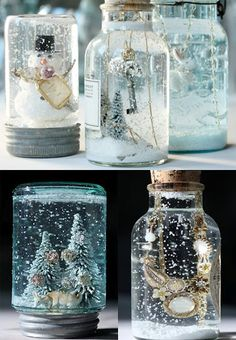 Home made snow globes, going to make these as Christmas presents for the kids this year.  The directions are from the nov 2011 post