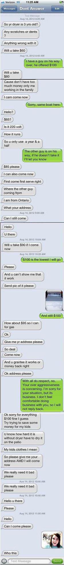 Overly Attached Dryer Buyer