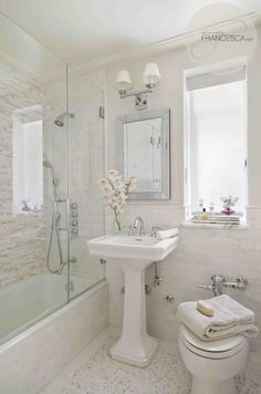 Bathroom in pure neutrals. This could be as small as you see in the picture, and yet it feels larger because of the serene palette and clean lines. Kids bathroom