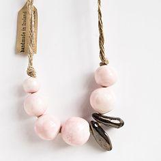 Blush pink ceramic beaded necklace   karoArt