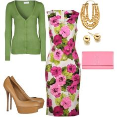 Summer wedding floral outfit - nude shoes and instead of pink make it a nude clutch!