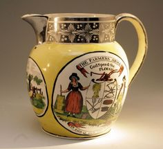 ANTIQUE POTTERY CANARY YELLOW PITCHER WITH SILVER RESIST LUSTER