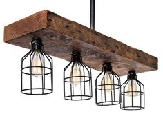 Farmhouse Style Reclaimed Wood Light Fixture - Rustic Decor Chandelier Lighting With Cages - Perfect for Kitchens, Dining Room, Islands Farmhouse Dining Room Lighting, Farmhouse Pendant Lighting, Farmhouse Chandelier, Dining Lighting, Rustic Chandelier, Rustic Lighting, Kitchen Lighting, Dining Rooms, Lighting Ideas