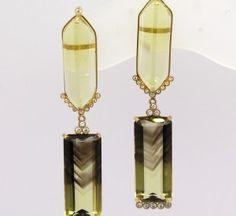 Brinco Retangular Green Gold Zircônios Ouro Amarelo 18k 750