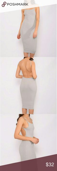 *Coming Soon* Grey Strappy Bodycon Dress A grey ribbed bodycon midi dress with a plunging back. A must have staple piece in anyone's closet. Dresses Midi