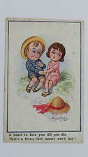 1920 Inter-Art Donald McGill Comic Postcard No 3357 Cute Children Undying Love