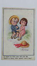 1920 Inter-Art Donald McGill Comic Postcard No 3357 Cute Children Undying Love