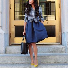 <navy + yellow> toning down one of my formal dresses for work with a layered button-up www.liketk.it/1Fn79 #officestyle #whatiwore