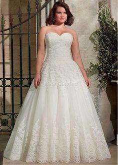 Robe de mariée a-ligne tulle appliques dentelle de traîne mi-longue - photo 1