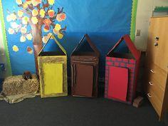 three little pigs interior homes Creative Curriculum Preschool, Preschool Programs, Kindergarten Activities, Pig Crafts, Preschool Crafts, Crafts For Kids, Three Little Pigs Houses, 3 Little Pigs Activities, Tree Study