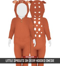 LITTLE SPROUTS - OH DEER! HOODED ONESIE | REDHEADSIMS - CC