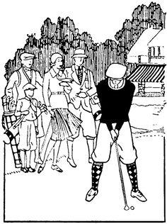 Vintage Golf Line Drawing Image